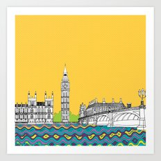London Town Pop Art with spotty sky Art Print