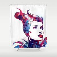 maleficent Shower Curtains featuring Maleficent by lauramaahs