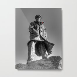 Colonel Sir Archibald David Stirling with a red poppy Metal Print