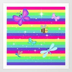 Rainbow Butterflies & Stripes Art Print