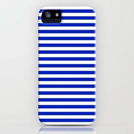 Cobalt Blue and White Thin Horizontal Deck Chair Stripe iPhone Case
