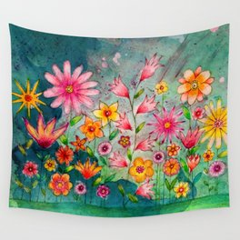 Wild flowers watercolor painting whimsical art Wall Tapestry