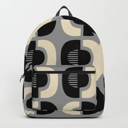 Retro Mid Century Modern Pattern 115 Black Gray and Beige Backpack