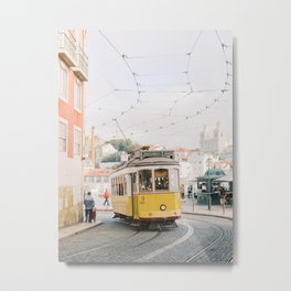 Yellow Tram in Lisbon | Portugal Streetcar Travel Photography | Europe Trolley Metal Print