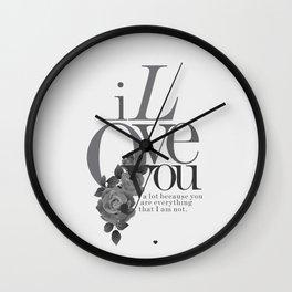 You Complete Me II - LOVE #society6 #love #buyart Wall Clock