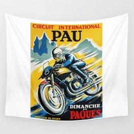 Grand Prix Pau, vintage poster, Motorcycle poster, race poster, Motorcycle poster Wall Tapestry