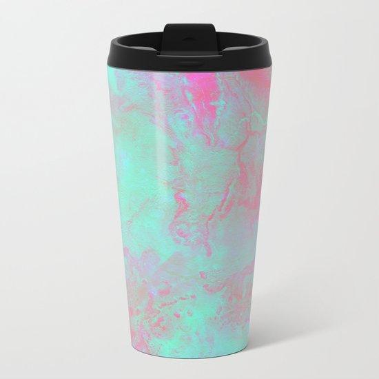 Teal Pink Metal Travel Mug