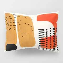 Mid Century Modern Abstract Minimalist Retro Vintage Style Fun Playful Ochre Yellow Ochre Orange  Pillow Sham