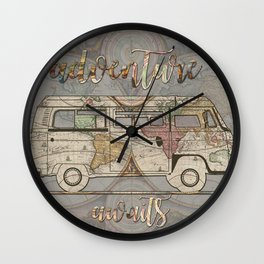 adventure awaits world map design 1 Wall Clock