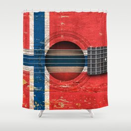 Old Vintage Acoustic Guitar with Norwegian Flag Shower Curtain