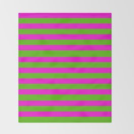 Hot Pink And Kelly Green Stripes Throw Blanket