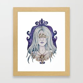 Gothic watercolor universe moth woman Framed Art Print