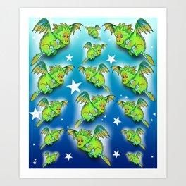 Green cartoon flying dragon pattern Art Print