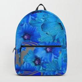 CERALIAN BLUE HOLLYHOCKS ART DECO ABSTRACT Backpack