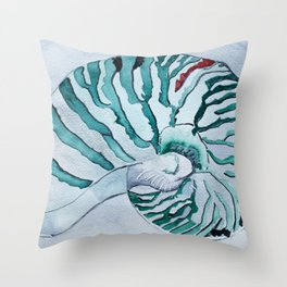 Turquoise Nautilus Shell painting watercolor Throw Pillow