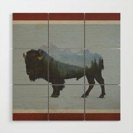 Wyoming Bison Flag Wood Wall Art
