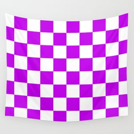 Cheerful Purple Checkerboard Pattern Wall Tapestry