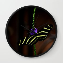 Zebra Longwing Butterfly Wall Clock
