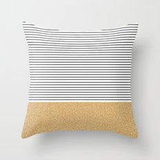 Minimal Gold Glitter Stripes Throw Pillow