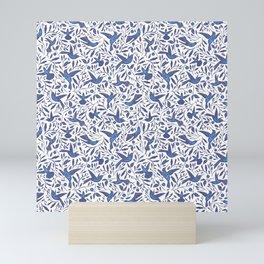 Delft Blue Humming Birds & Leaves Pattern Mini Art Print