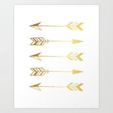 Faux gold foil arrows Art Print