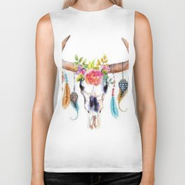 Floral and Feathers Adorned Bull Skull Biker Tank