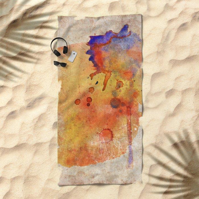 Orange Color Splash Beach Towel