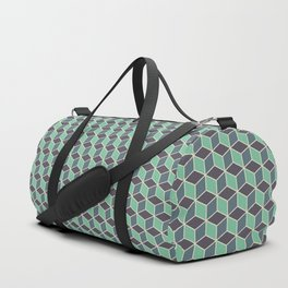 Pistachio Grey Seamless Cube Pattern Duffle Bag