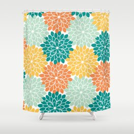 Petals in Orange, Mint, Apricot and Jade Shower Curtain