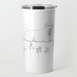 Dog Flower Sketch Travel Mug