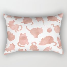 Cat Pattern Rose Gold Kitty Cats Rectangular Pillow