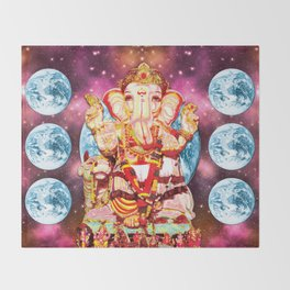 Galactic Ganesha Throw Blanket