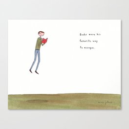 books were his favourite way to escape Canvas Print