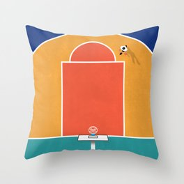 Shoot Hoops | Aerial Illustration Throw Pillow