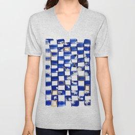 Blue and White Checks Unisex V-Neck