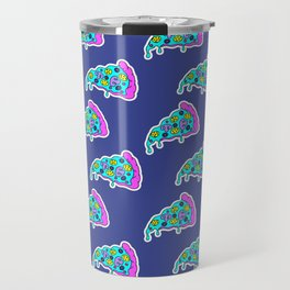 Crazy pizza / Blue Travel Mug