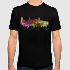 Raleigh skyline in watercolor background LARGE Black Mens Fitted Tee