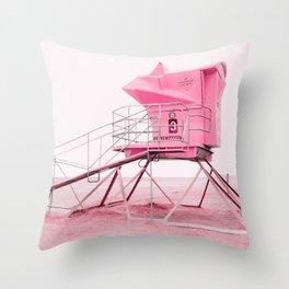 Malibu Lifeguard Tower in Pink Throw Pillow