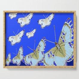 PATTERN OF BLUE & WHITE BUTTERFLIES MODERN ART Serving Tray