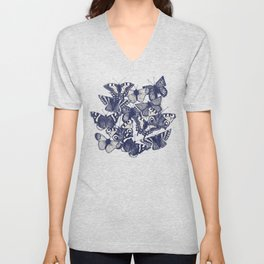 butterfly white Unisex V-Neck