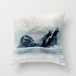 Rectangles - Perspective of Milford Sound Throw Pillow
