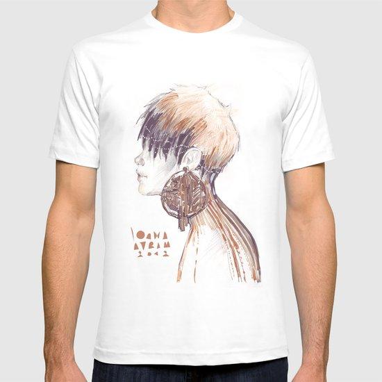 Fashion illustration profile portrait gold black white markers and watercolors T-shirt