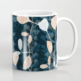 Berry Vine Print Teal and Peach Coffee Mug
