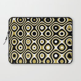 Black gold and white dots and circles Laptop Sleeve