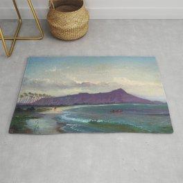 Diamond Head, Waikiki Beach, and Helumoa, Hawaii landscape painting by Charles Furneaux Rug