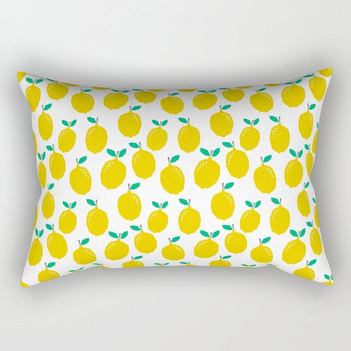 Lemons - Tropical citrus summer fresh modern pattern bright garden vegetables vegan Rectangular Pillow