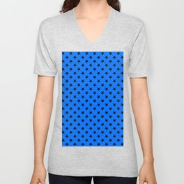 Black on Brandeis Blue Stars Unisex V-Neck