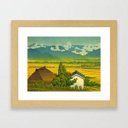 Kawase Hasui Vintage Japanese Woodblock Print Beautiful Mountain Valley Farmland Yellow Hues Framed Art Print