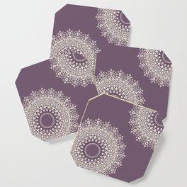 Asymmetric Mandalas on Mulberry Background Coaster