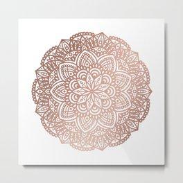 Rose Gold Circular Mandala Metal Print
